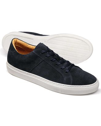Navy suede trainer
