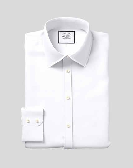 Popeline-Hemd ägyptischer Baumwolle mit Kent-Kragen- Weiß