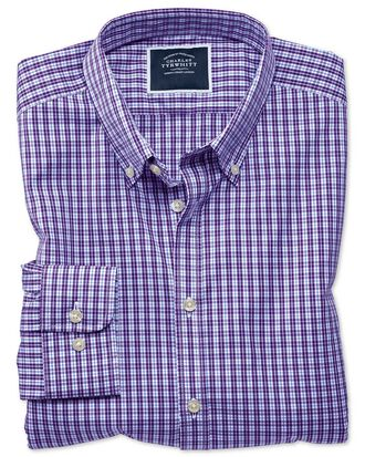 Extra slim fit non-iron purple gingham shirt