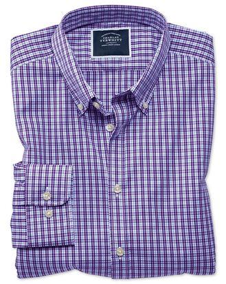 Extra slim fit non-iron purple gingham shirt