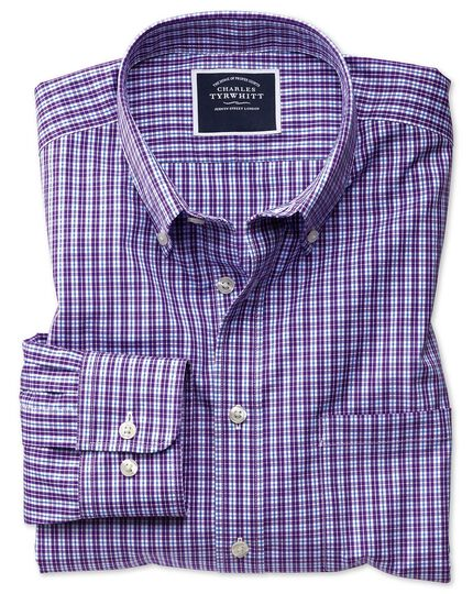 Slim fit non-iron purple gingham shirt