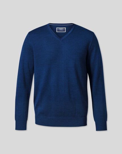 Pull en laine mérinos à col V - Bleu roi