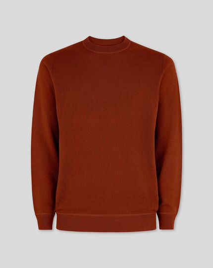 Burnt orange merino cashmere crew neck jumper