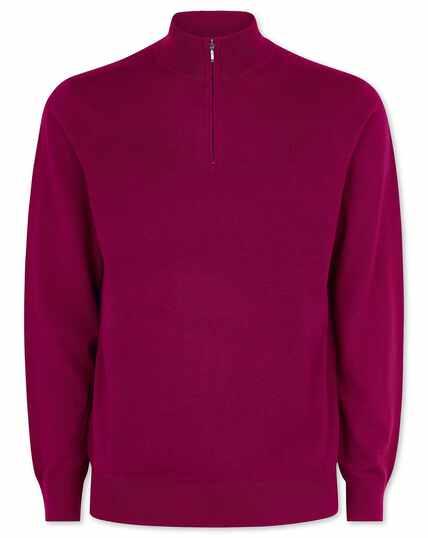 Dark pink merino zip neck jumper