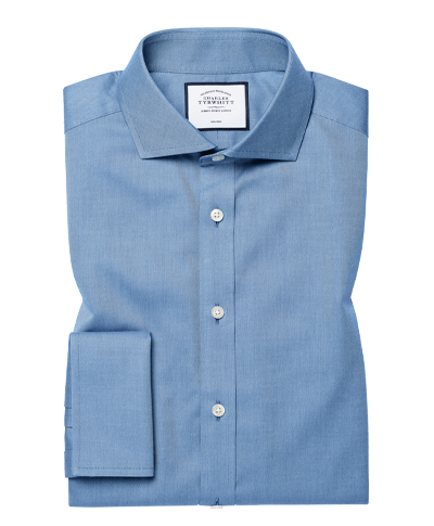 Extra slim fit non-iron twill blue shirt