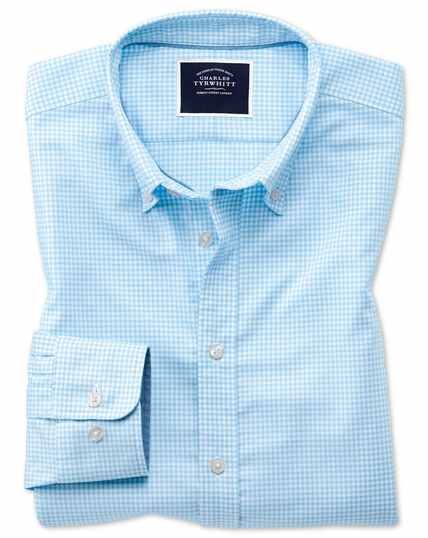 Extra slim fit sky blue gingham soft washed non-iron stretch shirt