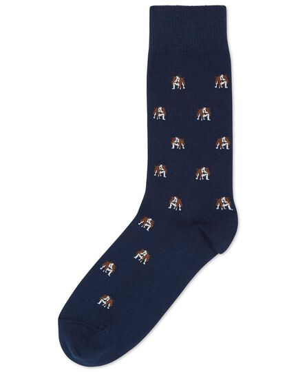 Navy British bulldog motif socks