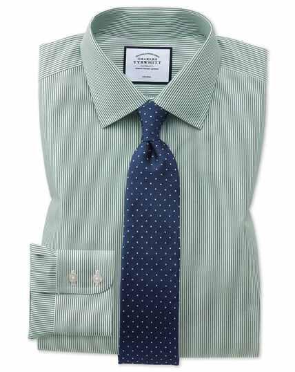 Slim fit non-iron olive Bengal stripe shirt