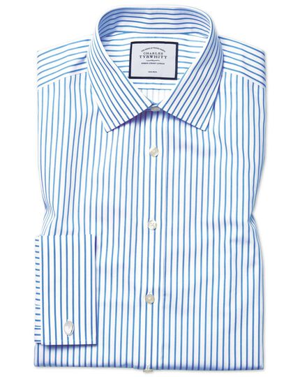 Extra slim fit non-iron sky blue stripe twill shirt