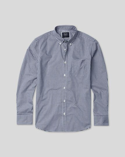 Button-Down Collar Soft Washed Non-Iron Twill Check Shirt - Navy