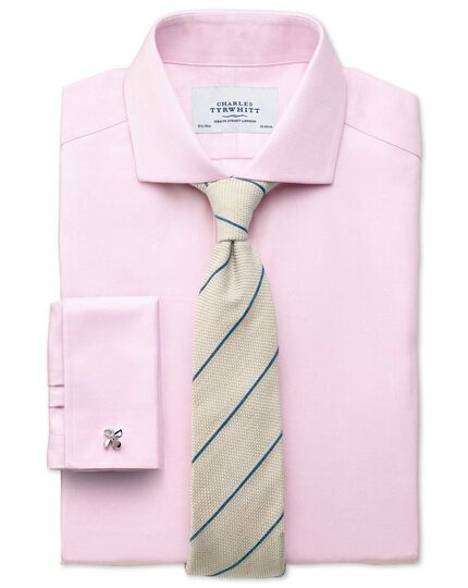 Slim fit cutaway collar non-iron herringbone light pink shirt