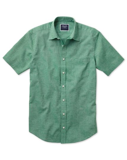 Slim fit cotton linen short sleeve green plain shirt
