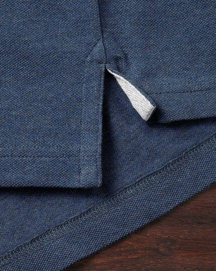 Polo bleu indigo en piqué à manches longues
