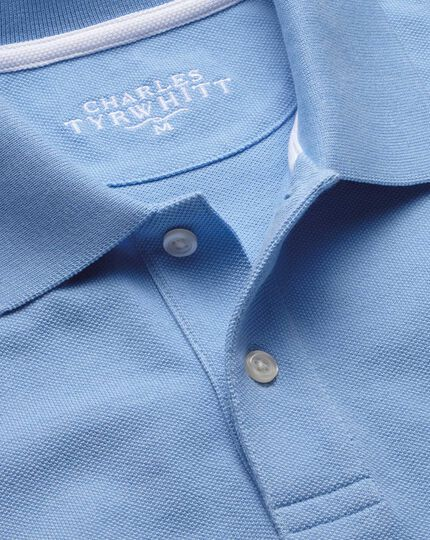 Sky blue cotton pique polo