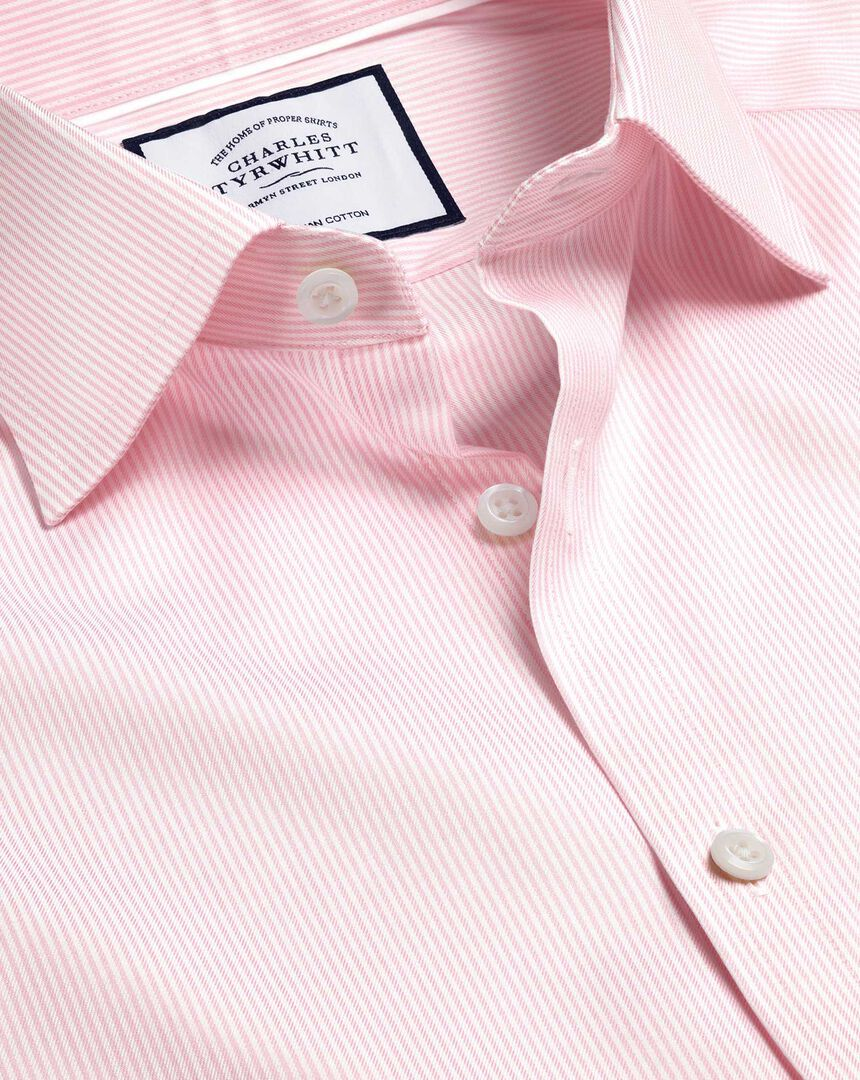 Semi-Spread Collar Egyptian Cotton Twill Bengal Stripe Shirt - Pink