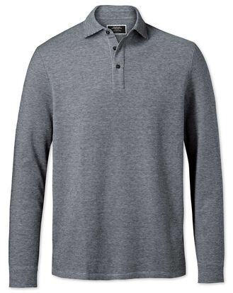 Black and white long sleeve textured polo