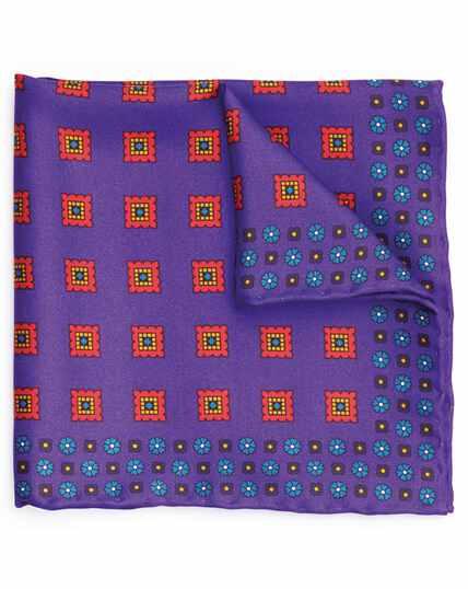 Bright purple silk square motif print pocket square