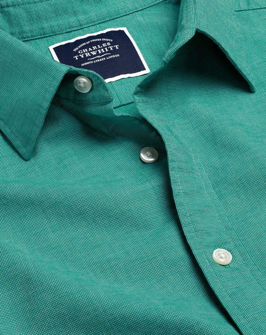 Cotton Linen Short Sleeve Shirt - Green