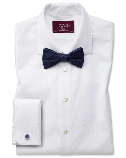 Navy silk plain classic bow tie