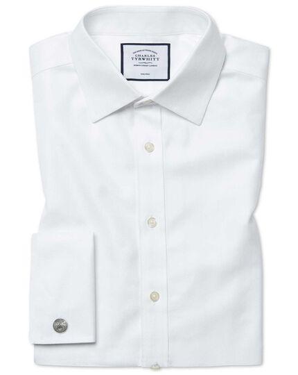 Bügelfreies Classic Fit Hemd in Weiß mit Fischgrätmuster