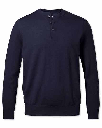 Navy merino Henley neck jumper