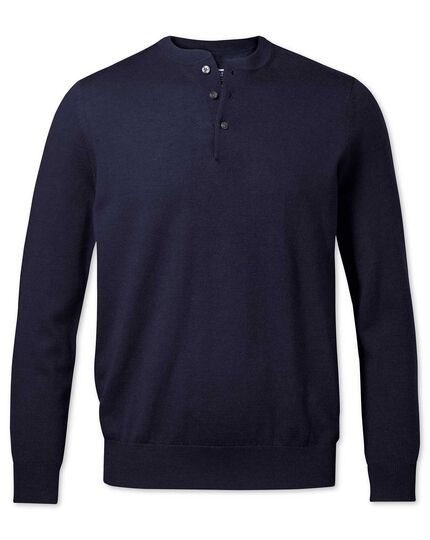 Navy merino Henley neck sweater