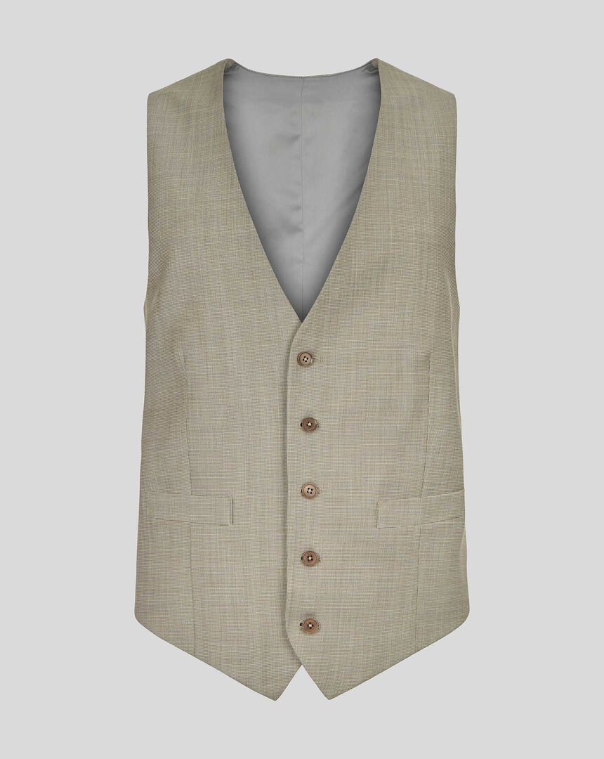 Textured Suit Waistcoat - Stone