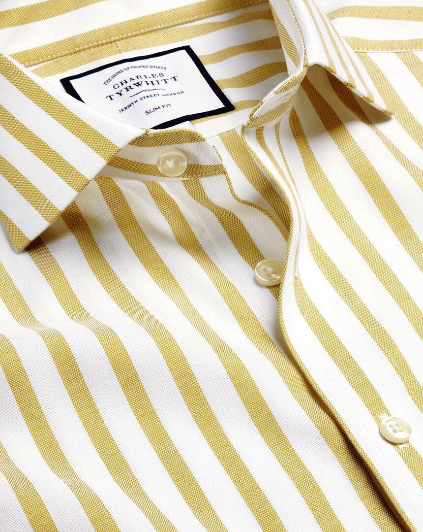 Stretch-Hemd aus Baumwolle mit TENCEL™, Haifischkragen und Streifen - Gelbgrün