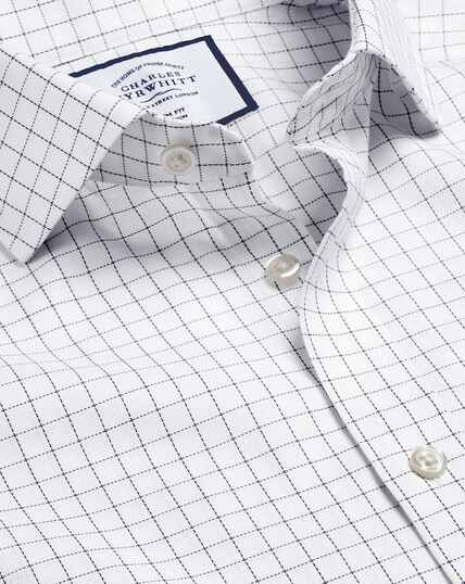 Spread Collar Non-Iron Cotton Stretch Check Shirt - White & Blue