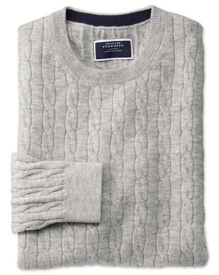 Light grey crew neck lambswool cable knit sweater