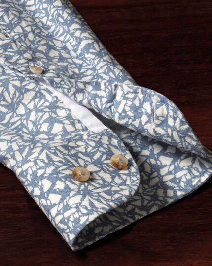 Extra slim fit sky blue leaf print shirt