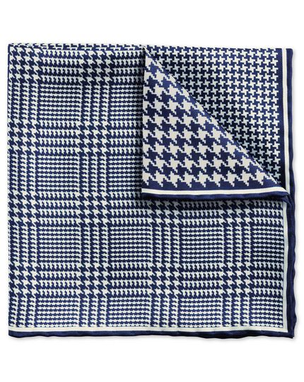 Navy classic quarter puppytooth pocket square