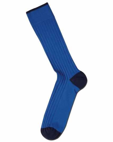 Chaussettes bleu roi en coton côtelé