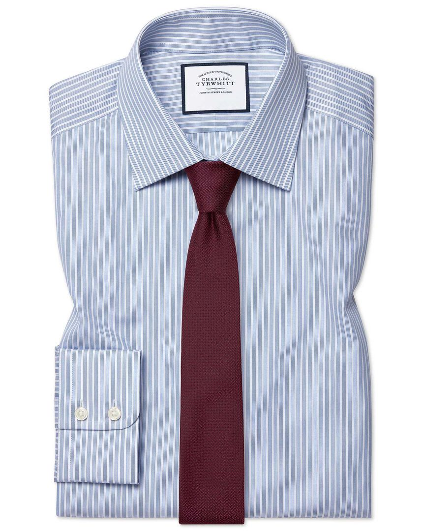 Extra slim fit poplin fine stripe blue shirt