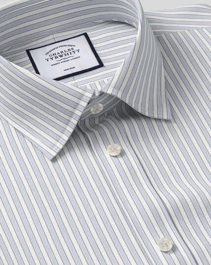 Classic Collar Non-Iron Poplin Stripe Shirt- Grey
