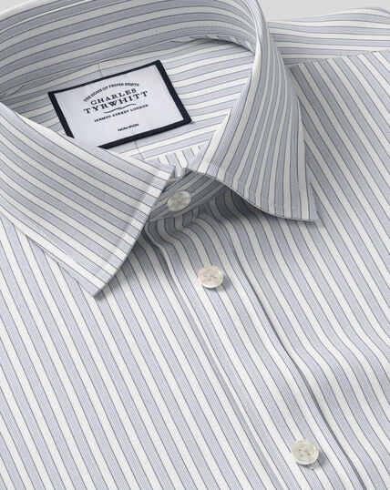 Bügelfreies Popeline-Hemd mit Kent Kragen und Streifen -  Grau