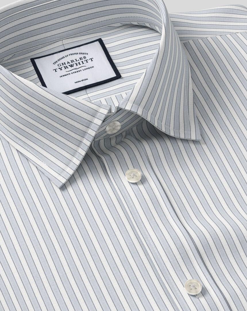 Classic Collar Non-Iron Poplin Stripe Shirt- Grey