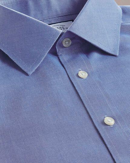 Chemise bleue en twill coupe droite sans repassage