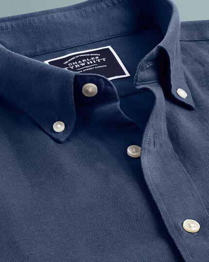 Slim Fit Kurzarmhemd aus Baumwolle/Leinen-Mischung in Dunkelblau