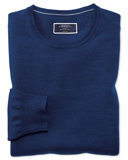 Royal blue merino crew neck jumper
