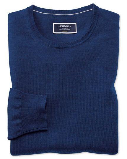 Royal blue merino crew neck sweater