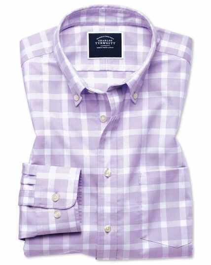 Chemise lilas en twill coupe droite à gros carreaux à délavage doux sans repassage