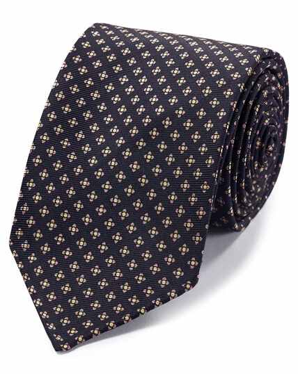 Navy and pink geometric luxury English hand rolled silk tie