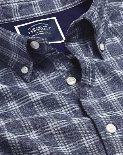 Bügelfreies Twill-Hemd mit Button-down-Kragen und Karos - Marineblau & Weiß