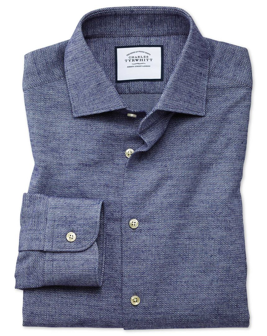 Extra slim fit business casual navy circle print soft cotton shirt