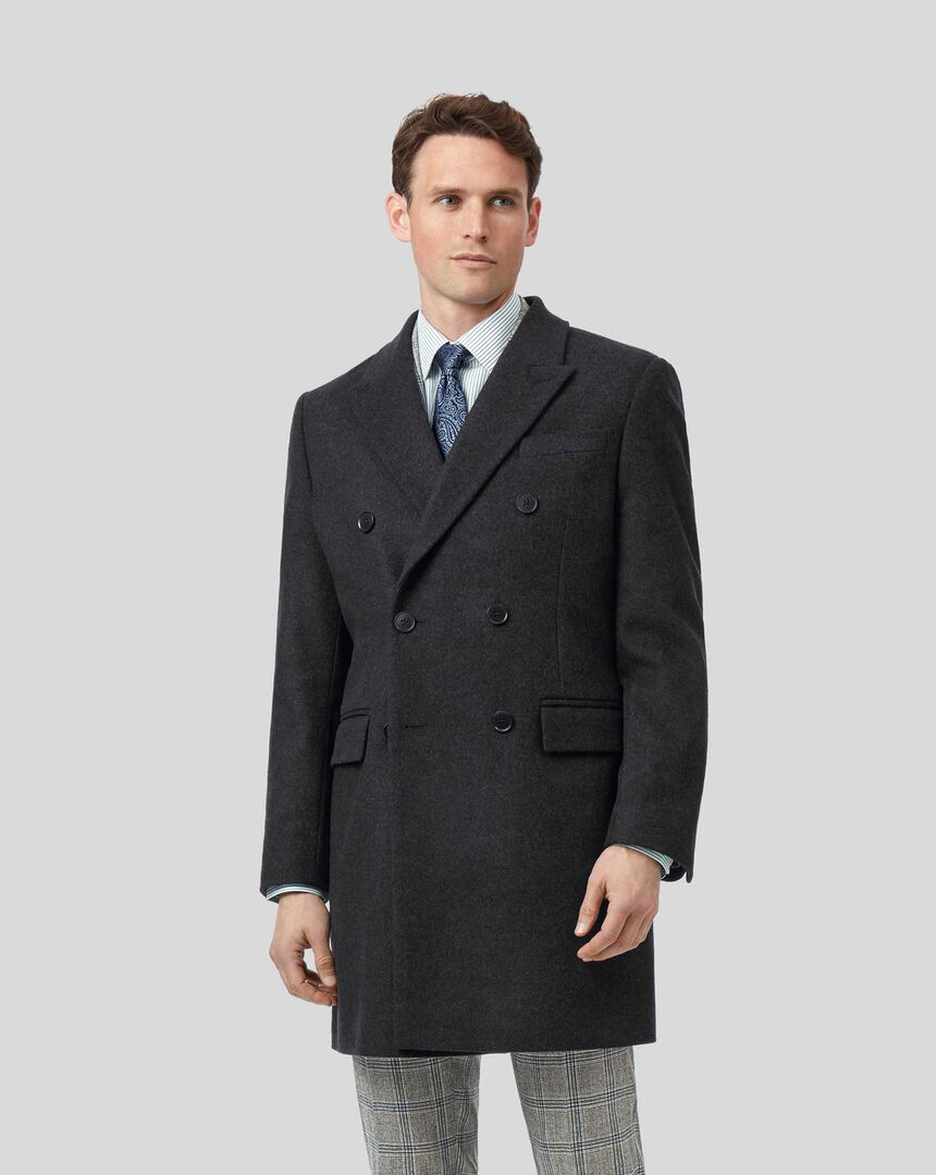 Italian Wool Cashmere Double Breasted Epsom Coat - Charcoal