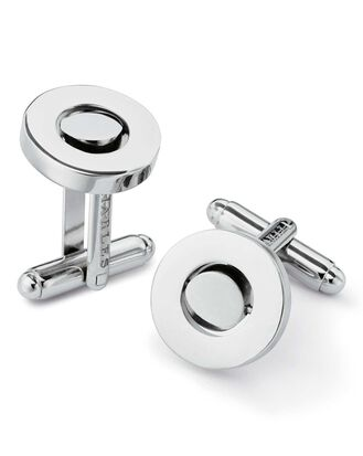 Silver moveable disk metal cufflinks
