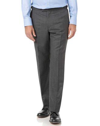 Charcoal classic fit tan stripe British luxury suit pants