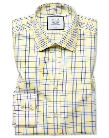 Chemise jaune extra slim fit à carreaux Prince de Galles sans repassage