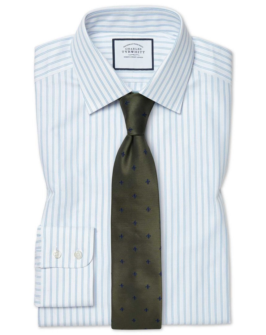 Slim fit brushed-back basketweave striped blue shirt